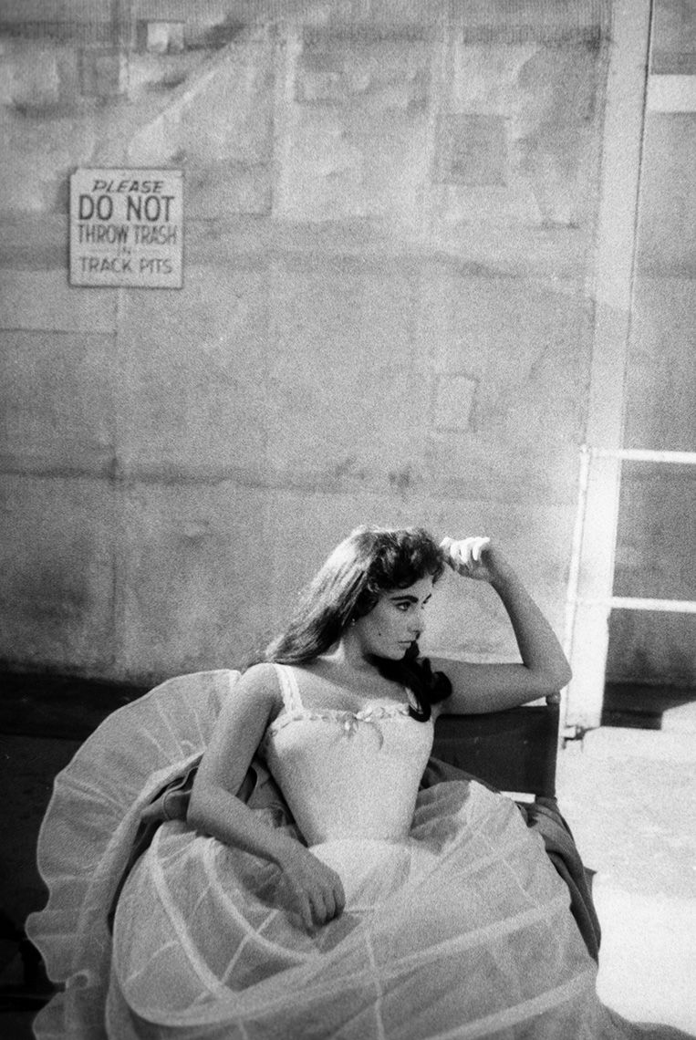 Elizabeth Taylor on the MGM set of Raintree County, 1956.
