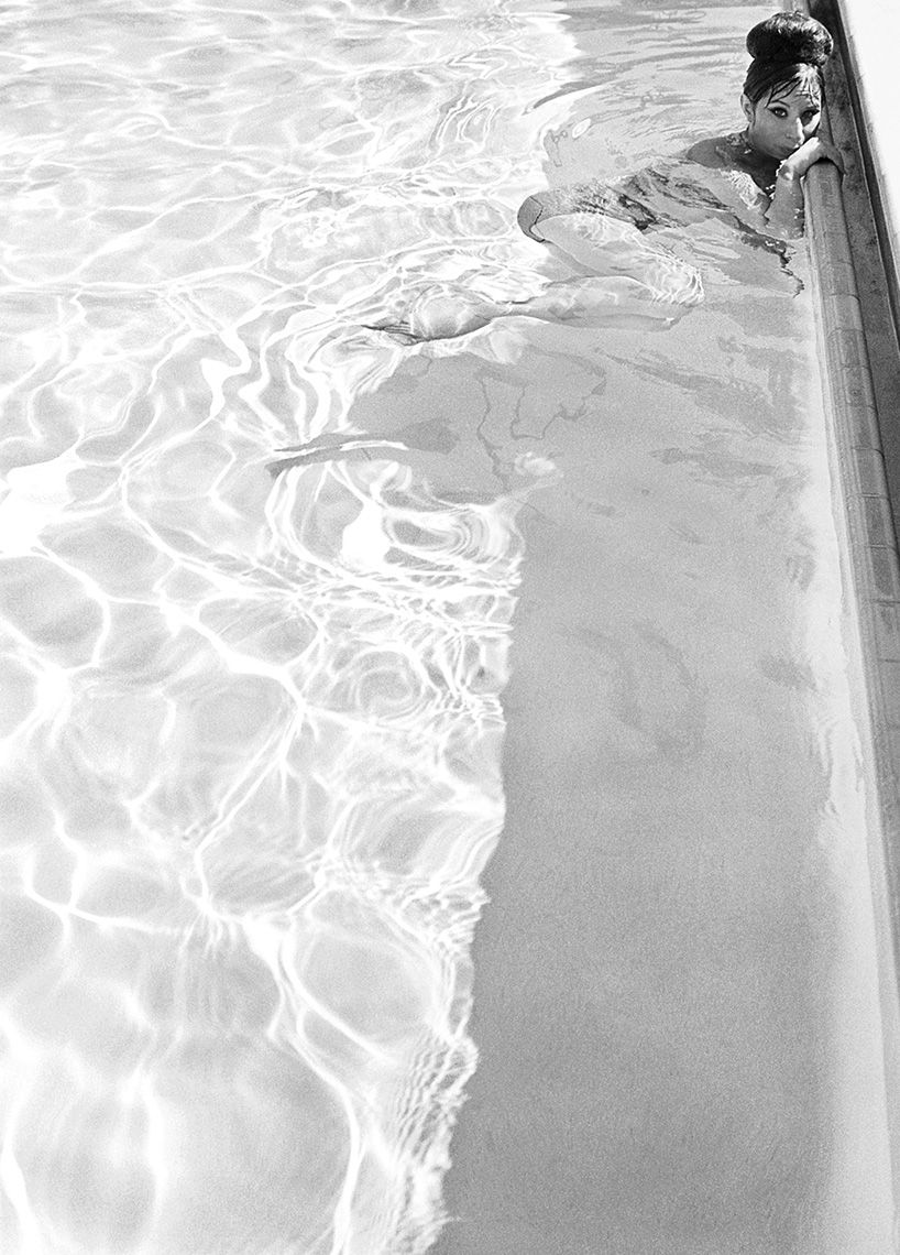 Barbra Streisand in the Beverly Hills Hotel pool, 1963.