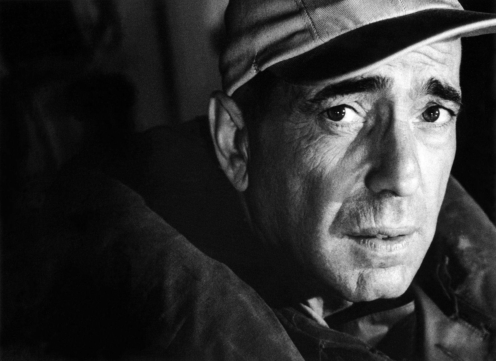 Humphrey Bogart, one of the most memorable faces in the history of cinema, portrayed as Captain Queeg in The Caine Mutiny, Columbia Studios, 1953.