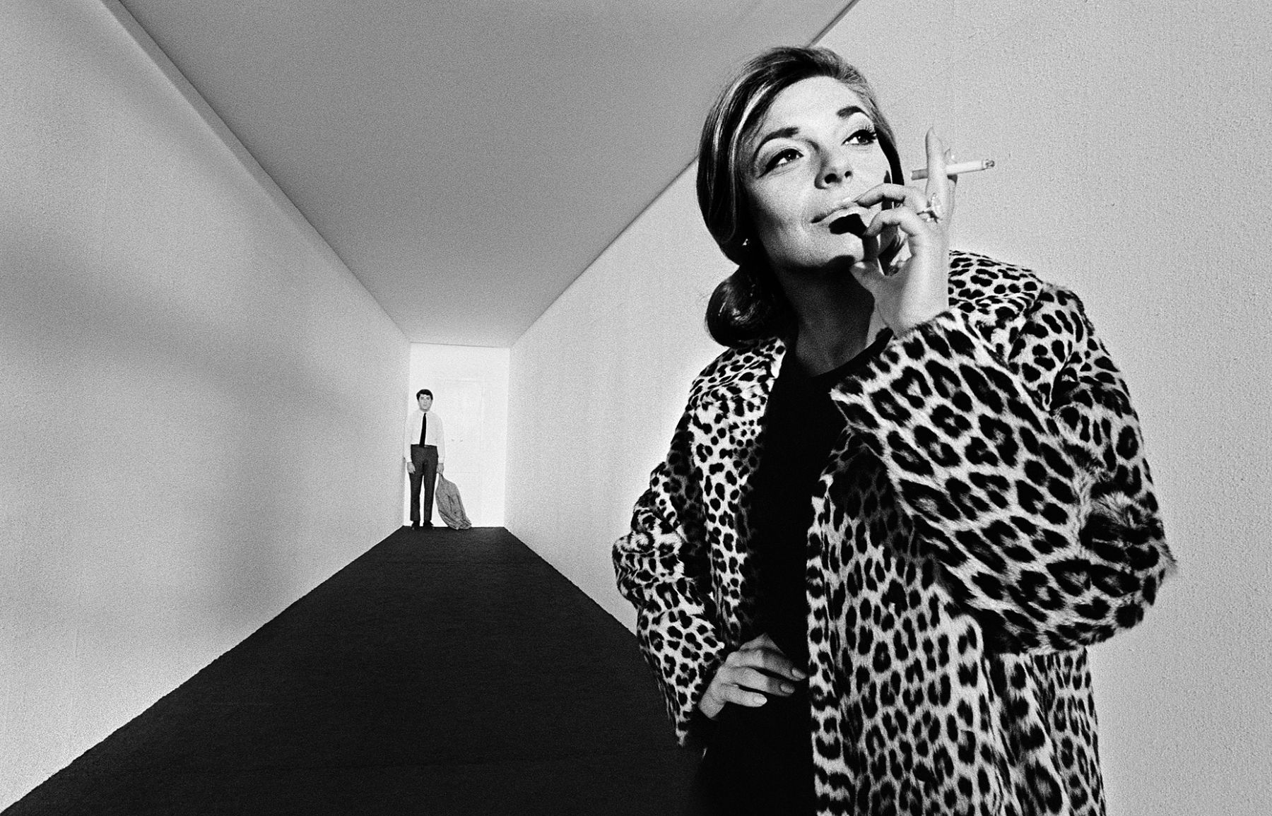 Anne Bancroft and Dustin Hoffman on a specially constructed set at Paramount during filming of The Graduate, 1967.