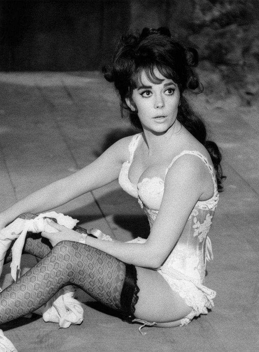 Deliciously attractive Natalie Wood in rehearsal on The Great Race, Warner Bros., 1964.