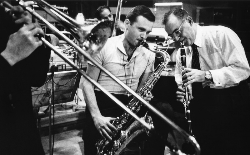 Stan Getz Stan Getz and Benny Goodman at Universal Studios in Hollywood, 1955.
