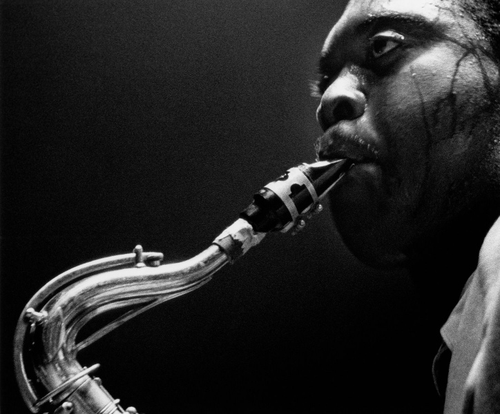 Close-up of Big Jay McNeely at his concert at Olympic Auditorium, Los Angeles, 1951.