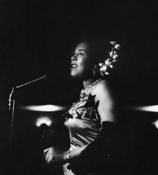 Billie Holiday performing at the Tiffany Club in Los Angeles, 1952.