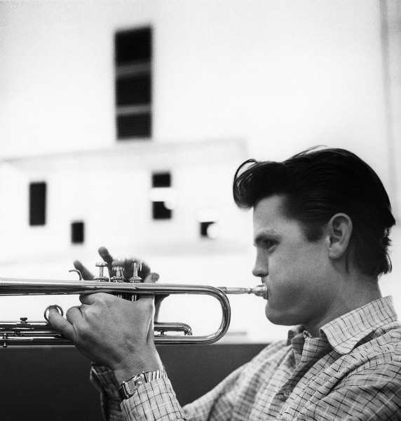 Chet Baker laying it down at Fantasy recording session, Los Angeles, 1953.