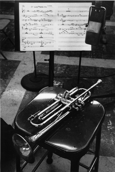 Chet Baker's trumpet with sheet music to I'm Glad There is You, Los Angeles recording session, 1954.