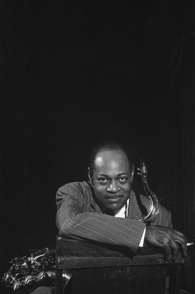 "Coleman Hawkins photographed after a ""Just Jazz"" concert at the Shrine auditorium in Los Angeles, 1950."