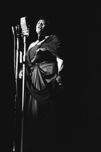 Ella Fitzgerald at the Shrine Auditorium in Los Angeles, 1950.