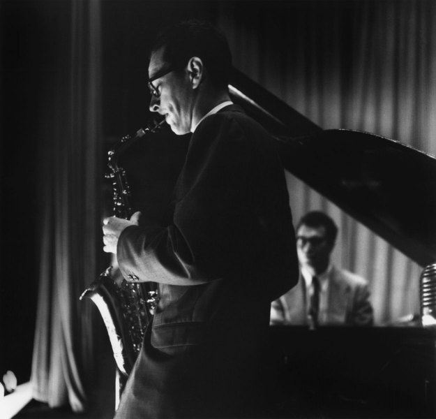 Paul Desmond and Dave Brubeck in concert; Carmel, CA, 1954.