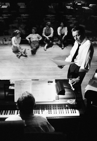 Frank Sinatra rehearsing for his show at the Sands Hotel in Las Vegas, 1960.