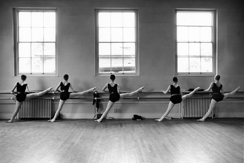 Royal Ballet, five dancers at barre, 1962.