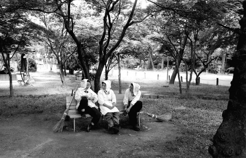 Japanese park sweepers; Kyoto, 1958.